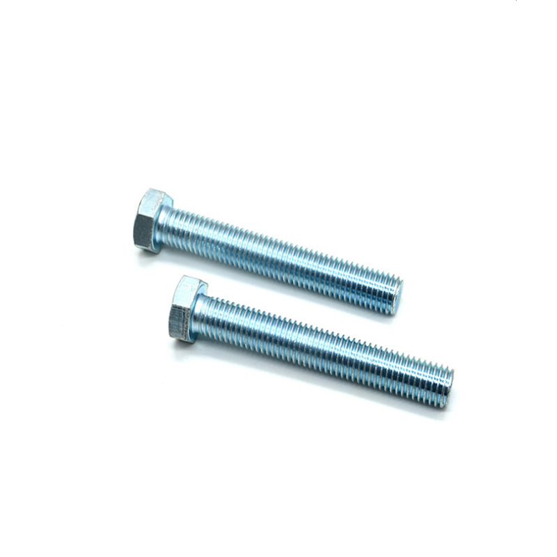 Grade 8.8 M10 Blue White Zinc Plated Hex Head Screws