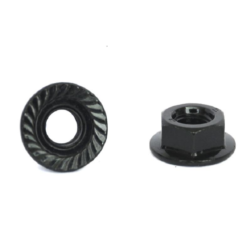 M3-M12 Grade 4.8 Black Zinc Plated Serrated Flange Locknuts