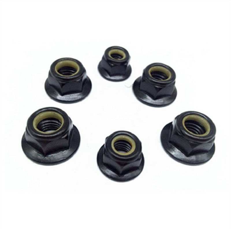 M3-M8 Black Zinc Plated Nylon-Insert Flange Locknuts
