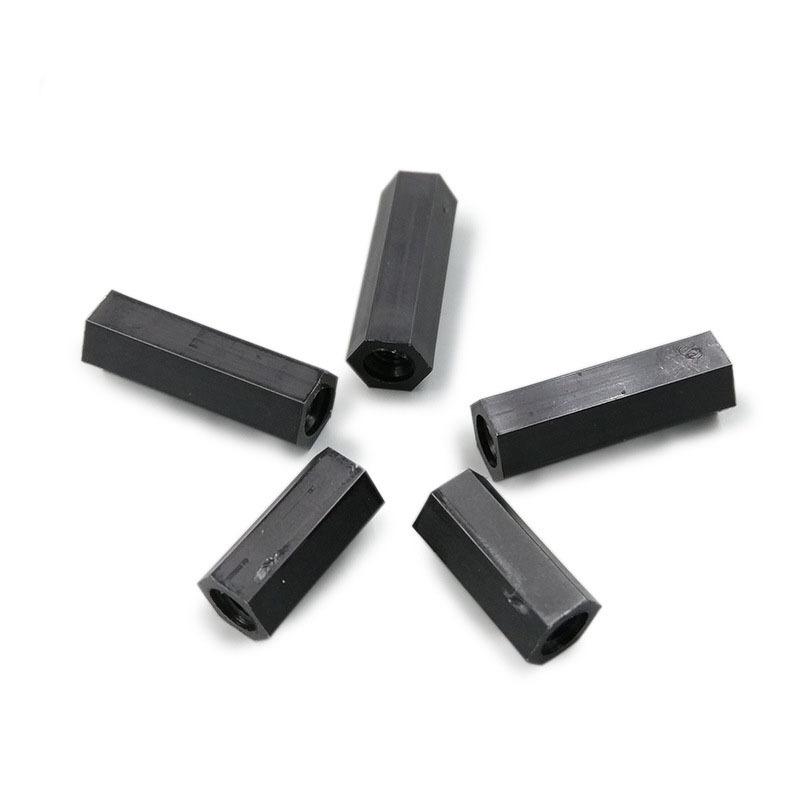 M4 Black Nylon Partially Threaded Hex Standoffs