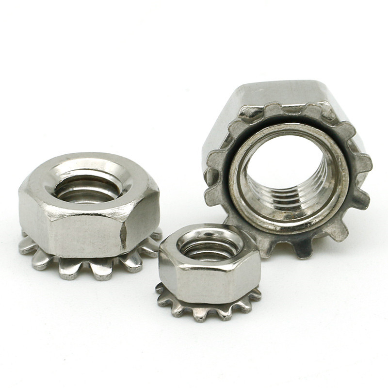 M4-M8 201 Stainless Steel Locknuts With External-Tooth Lock Washer