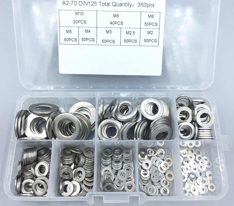 360Pcs 304 Stainless Steel General Purpose Washers Assortments